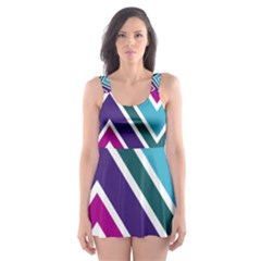 Fetching Chevron White Blue Purple Green Colors Combinations Cream Pink Pretty Peach Gray Glitter Re Skater Dress Swimsuit by AnjaniArt