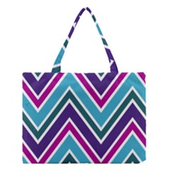 Fetching Chevron White Blue Purple Green Colors Combinations Cream Pink Pretty Peach Gray Glitter Re Medium Tote Bag by AnjaniArt
