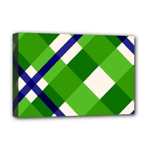 Green Plaid Deluxe Canvas 18  X 12   by AnjaniArt