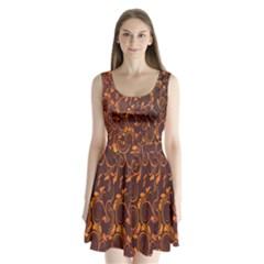 Gold Flower Split Back Mini Dress  by AnjaniArt