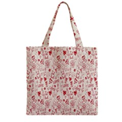 Heart Surface Kiss Flower Bear Love Valentine Day Zipper Grocery Tote Bag by AnjaniArt