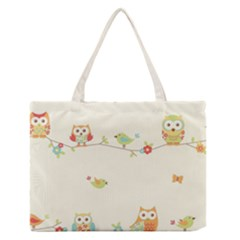 Owl Butterfly Bird Medium Zipper Tote Bag by AnjaniArt