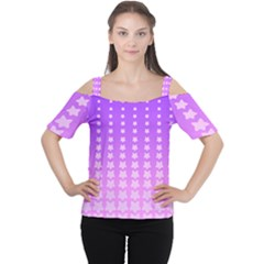 Purple And Pink Stars Line Women s Cutout Shoulder Tee by AnjaniArt