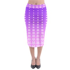 Purple And Pink Stars Line Midi Pencil Skirt by AnjaniArt