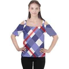 Red And Purple Plaid Women s Cutout Shoulder Tee by AnjaniArt