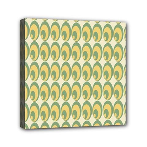 Pattern Circle Green Yellow Mini Canvas 6  X 6  by AnjaniArt