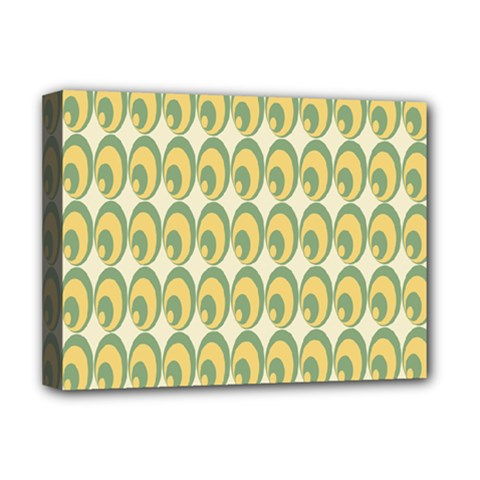 Pattern Circle Green Yellow Deluxe Canvas 16  X 12   by AnjaniArt