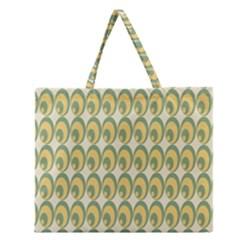 Pattern Circle Green Yellow Zipper Large Tote Bag by AnjaniArt