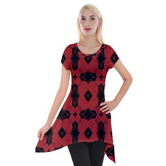 Redtree Flower Red Short Sleeve Side Drop Tunic