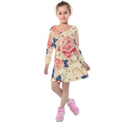 Beautiful Pink Roses Kids  Long Sleeve Velvet Dress by Brittlevirginclothing