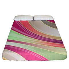 Abstract Colorful Background Wavy Fitted Sheet (queen Size)