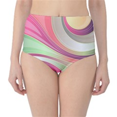 Abstract Colorful Background Wavy High Waist Bikini Bottoms by Amaryn4rt