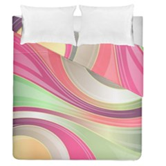 Abstract Colorful Background Wavy Duvet Cover Double Side (Queen Size) by Amaryn4rt