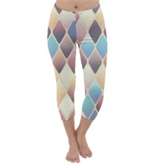 Abstract Colorful Background Tile Capri Winter Leggings  by Amaryn4rt