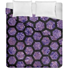 Hexagon2 Black Marble & Purple Marble (r) Duvet Cover Double Side (california King Size) by trendistuff