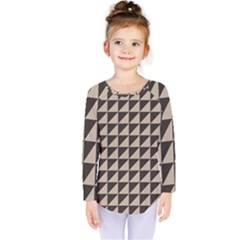 Brown Triangles Background Pattern  Kids  Long Sleeve Tee by Amaryn4rt