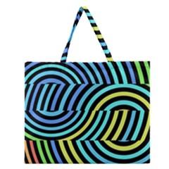 Twin Tunnels Visual Illusion Casino Art Zipper Large Tote Bag by AnjaniArt