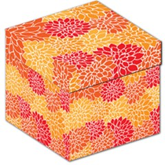 Vintage Floral Flower Red Orange Yellow Storage Stool 12   by AnjaniArt