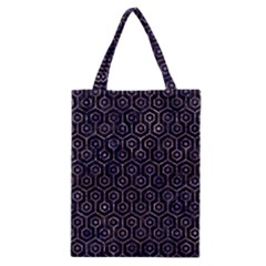 Hexagon1 Black Marble & Purple Marble Classic Tote Bag by trendistuff