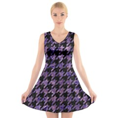 Houndstooth1 Black Marble & Purple Marble V Neck Sleeveless Dress by trendistuff