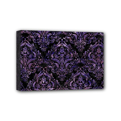 Damask1 Black Marble & Purple Marble Mini Canvas 6  X 4  (stretched) by trendistuff