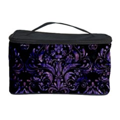 Damask1 Black Marble & Purple Marble Cosmetic Storage Case by trendistuff