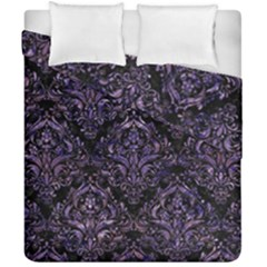 Damask1 Black Marble & Purple Marble Duvet Cover Double Side (california King Size) by trendistuff