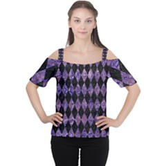 Diamond1 Black Marble & Purple Marble Cutout Shoulder Tee by trendistuff