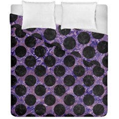 Circles2 Black Marble & Purple Marble (r) Duvet Cover Double Side (california King Size) by trendistuff