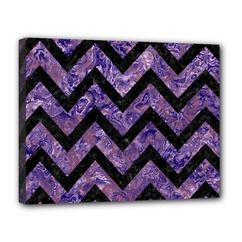 Chevron9 Black Marble & Purple Marble (r) Canvas 14  X 11  (stretched) by trendistuff