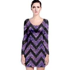 CHV9 BK-PR MARBLE (R) Long Sleeve Velvet Bodycon Dress by trendistuff