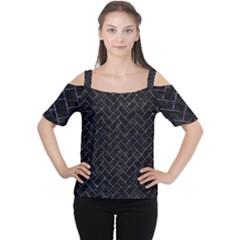 Brick2 Black Marble & Purple Marble Cutout Shoulder Tee by trendistuff