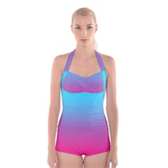 Blue Pink Purple Boyleg Halter Swimsuit  by Jojostore