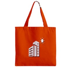 Building Orange Sun Copy Zipper Grocery Tote Bag by Jojostore