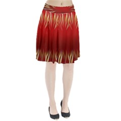 Color Gold Yellow Background Pleated Skirt by Amaryn4rt