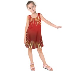Color Gold Yellow Background Kids  Sleeveless Dress by Amaryn4rt