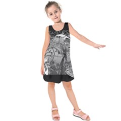 Kringel Circle Flowers Butterfly Kids  Sleeveless Dress by Amaryn4rt