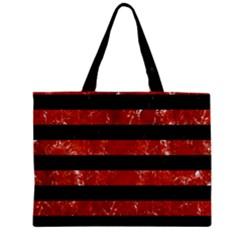Stripes2 Black Marble & Red Marble Zipper Mini Tote Bag by trendistuff