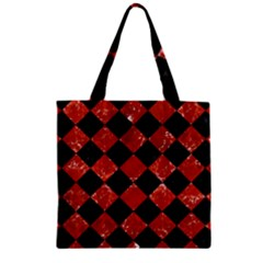 Square2 Black Marble & Red Marble Zipper Grocery Tote Bag by trendistuff
