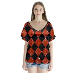 Square2 Black Marble & Red Marble V Neck Flutter Sleeve Top by trendistuff