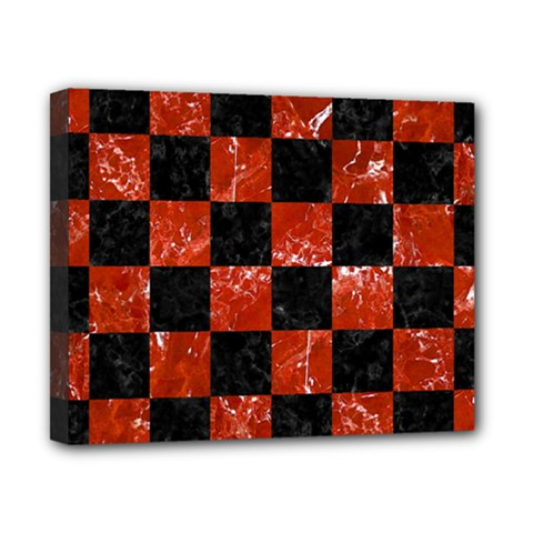 Square1 Black Marble & Red Marble Canvas 10  X 8  (stretched) by trendistuff