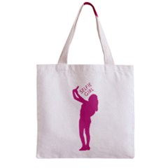 Selfie Girl Graphic Zipper Grocery Tote Bag by dflcprints