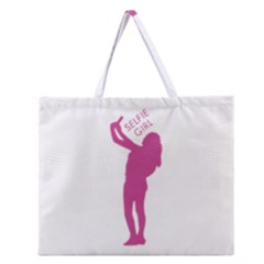Selfie Girl Graphic Zipper Large Tote Bag by dflcprints