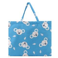 Blue Koala Zipper Large Tote Bag by Jojostore