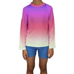 Blue Pink Purple Red Kids  Long Sleeve Swimwear by Jojostore