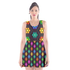 Pattern Background Colorful Design Scoop Neck Skater Dress by Amaryn4rt