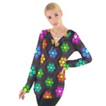Pattern Background Colorful Design Women s Tie Up Tee