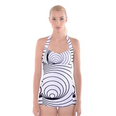 Spiral Eddy Route Symbol Bent Boyleg Halter Swimsuit  by Amaryn4rt