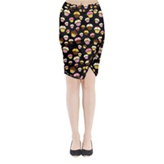 Jammy Cupcakes Pattern Midi Wrap Pencil Skirt by Valentinaart
