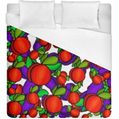 Peaches and plums Duvet Cover (King Size) by Valentinaart